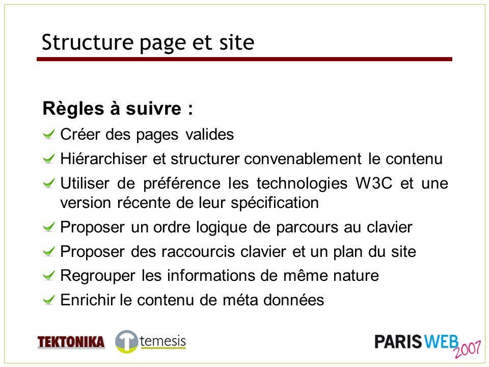 Structure page et site Règles à suivre : Créer des pages valides Hiérarchiser et structurer convenablement le contenu Utiliser de préférence les techn