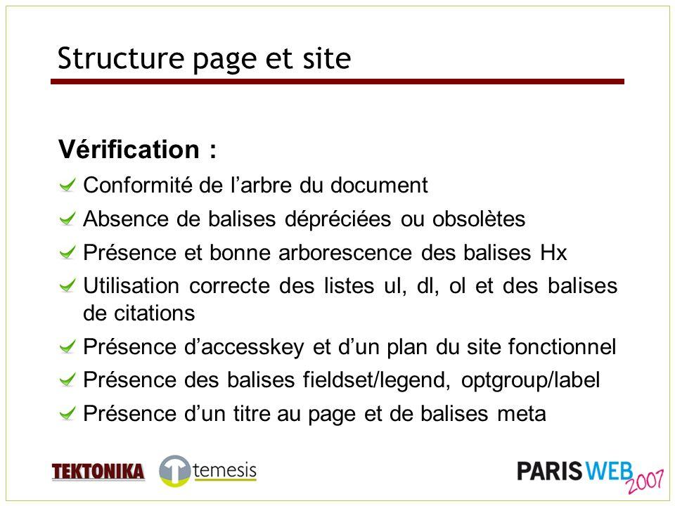 Structure page et site Vérification : Conformité de larbre du document Absence de balises dépréciées ou obsolètes Présence et bonne arborescence des b