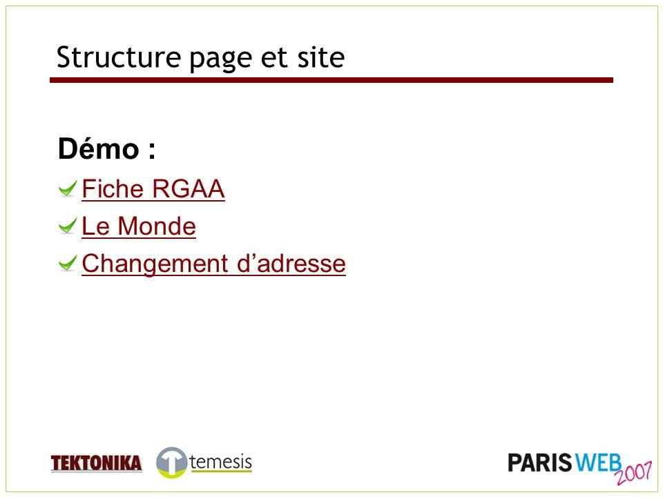 Structure page et site Démo : Fiche RGAA Le Monde Changement dadresse