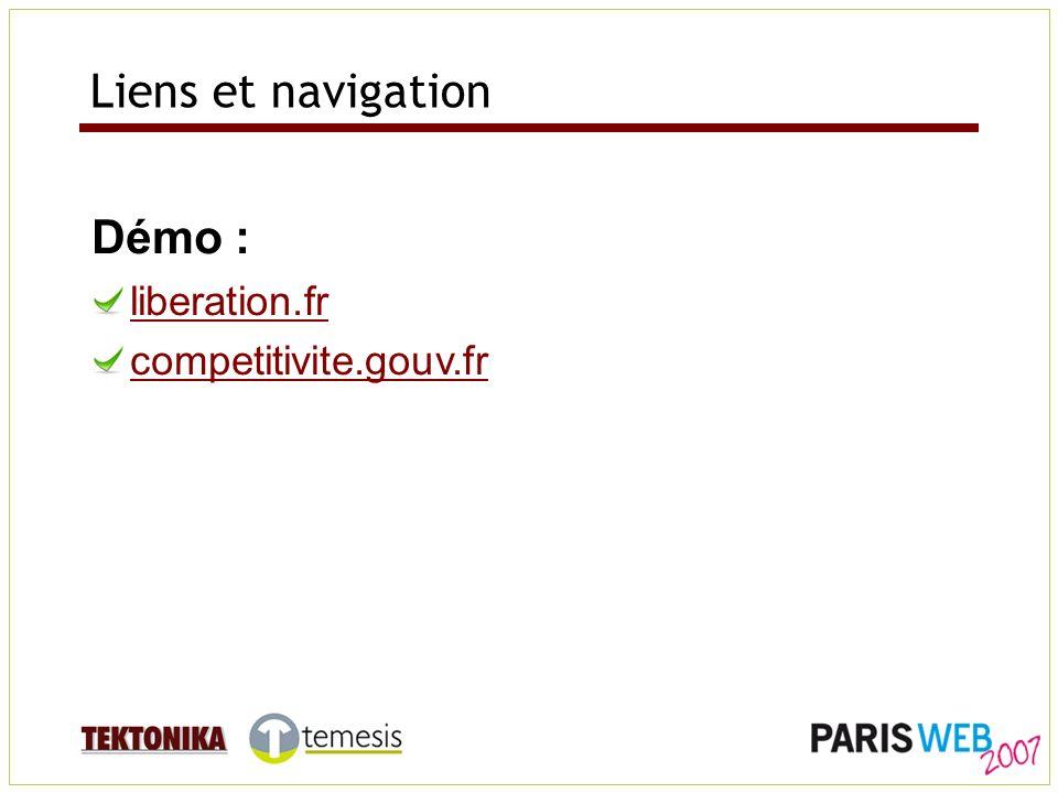 Liens et navigation Démo : liberation.fr competitivite.gouv.fr