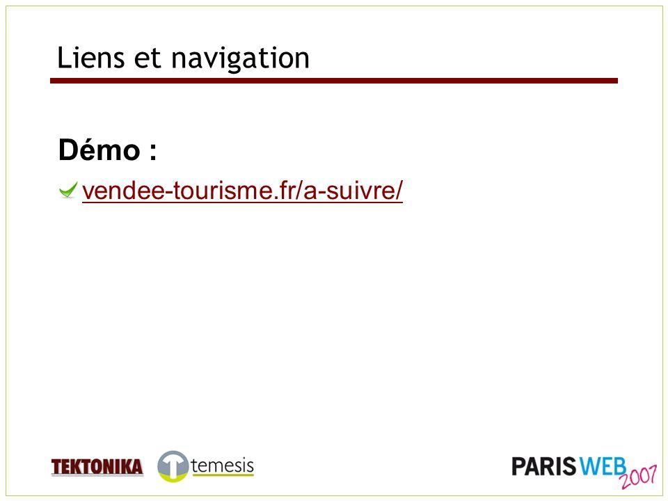 Liens et navigation Démo : vendee-tourisme.fr/a-suivre/