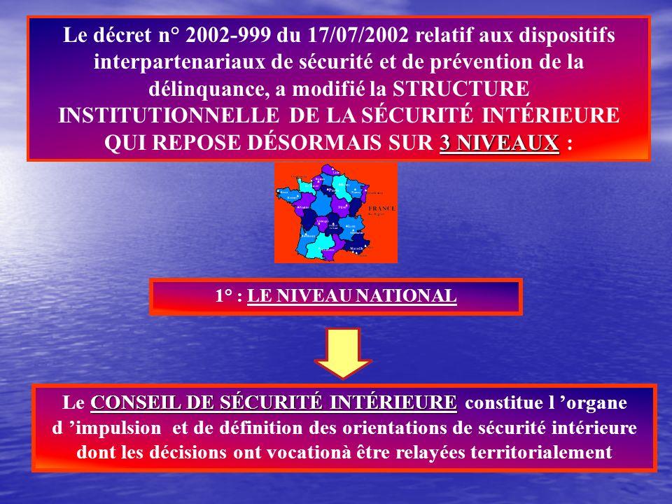 I - LE CONSEIL DE SECURITE INTERIEURE (C.S.I) Créé en 1997, et réorganisé par le décret n° 2002-890 du 15/05/2002 relatif aux dispositifs interpartena