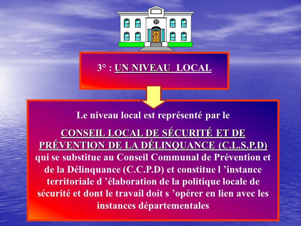 UN NIVEAU DÉPARTEMENTAL QUI 2° : UN NIVEAU DÉPARTEMENTAL QUI REPOSE SUR 2 INSTITUTIONS Conseil Départemental Le Conseil Départemental de Prévention de
