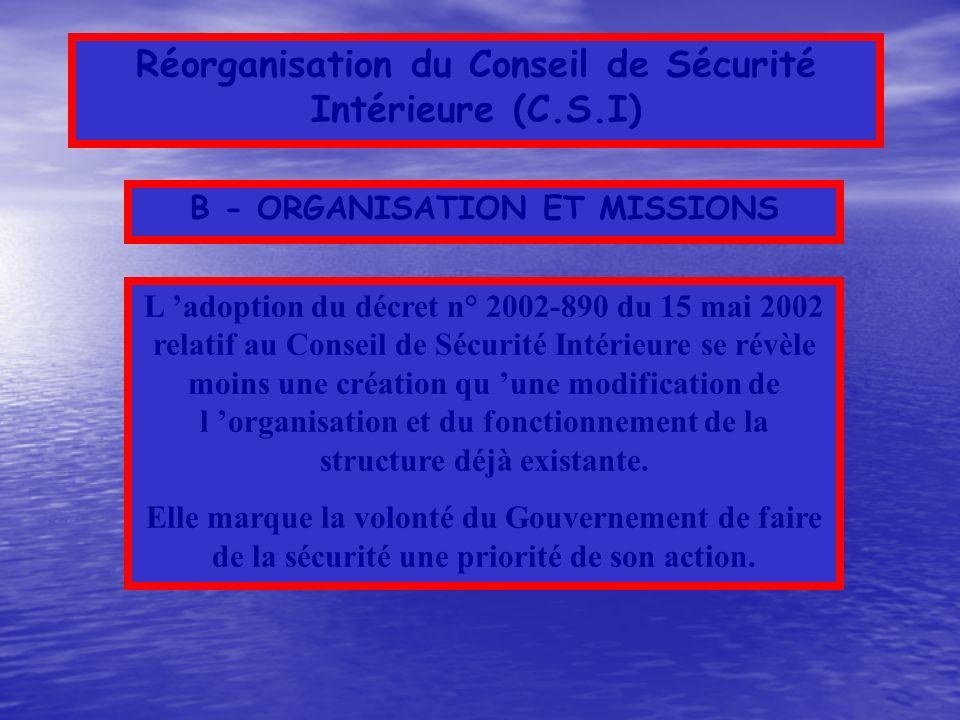 Activité du Conseil de Sécurité Intérieure (C.S.I) de 1997 à 2002 Les violences urbaines (1999) La Police Municipale (1999) Les agressions sexuelles à