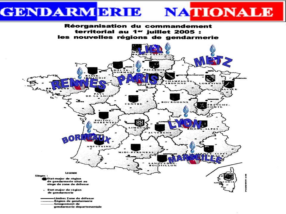 22 Régions de gendarmerie : 22 Régions de gendarmerie : Dont 6 aux siéges des zones de défense Elles sont implantées à : - Région Nord = - Région Nord