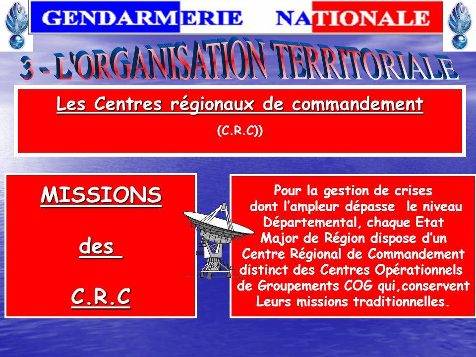 MISSIONSdesC.O.G Les Centres Opérationnels de la Gendarmerie (C.O.G)) Apparus en 1990 dans chaque département - Chargé d organiser l intervention de n