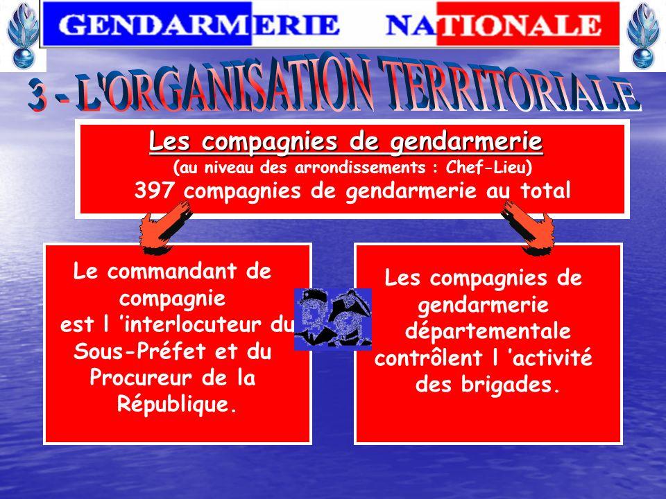 Le commandant de groupement est en relation avec le Préfet et le délégué militaire départemental. Les groupements de gendarmerie (au niveau du départe