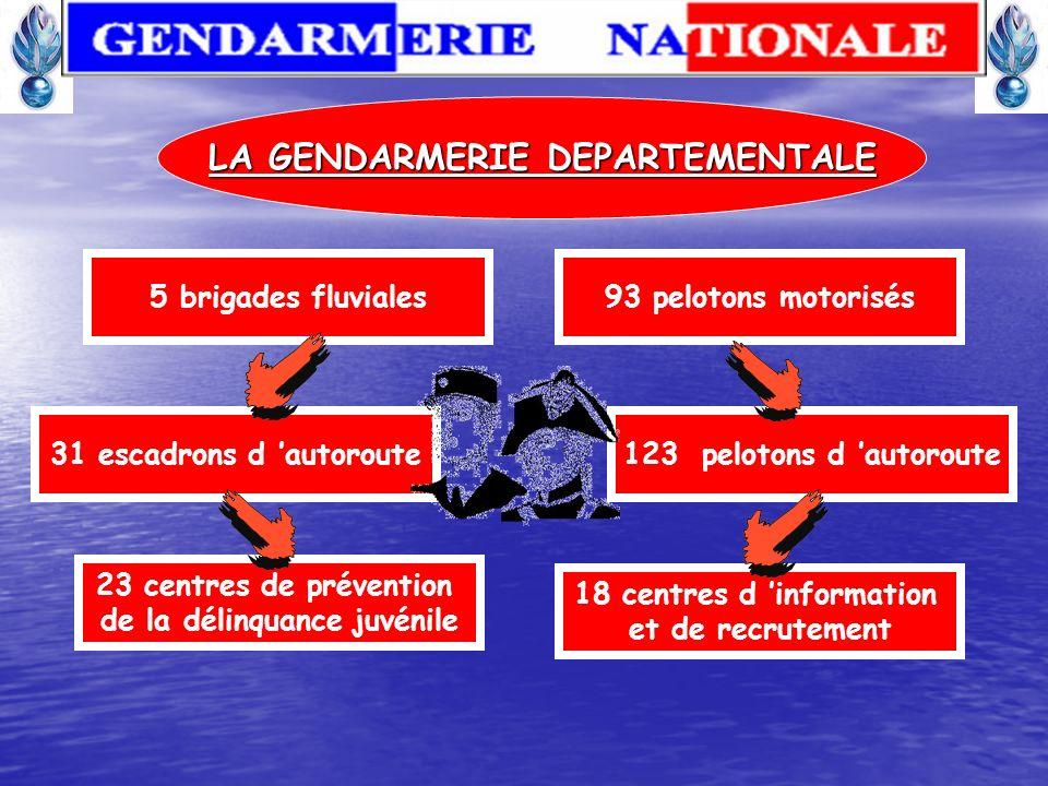 LA GENDARMERIE DEPARTEMENTALE 3 603 brigades territoriales 233 P.S.I.G 20 Pelotons de montagne 90 groupes de gendarmes auxiliaires 335 sections et bri