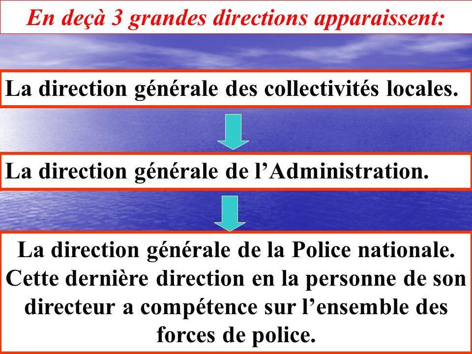 Sous les directives du Ministre de lintérieur et sous la dépendance directe du Cabinet et de son Directeur, on trouve 6 entités. Linspection générale