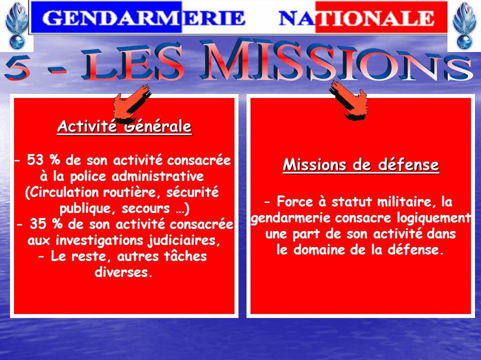 LA GENDARMERIE DEPARTEMENTALE 5 brigades fluviales 31 escadrons d autoroute 23 centres de prévention de la délinquance juvénile 93 pelotons motorisés