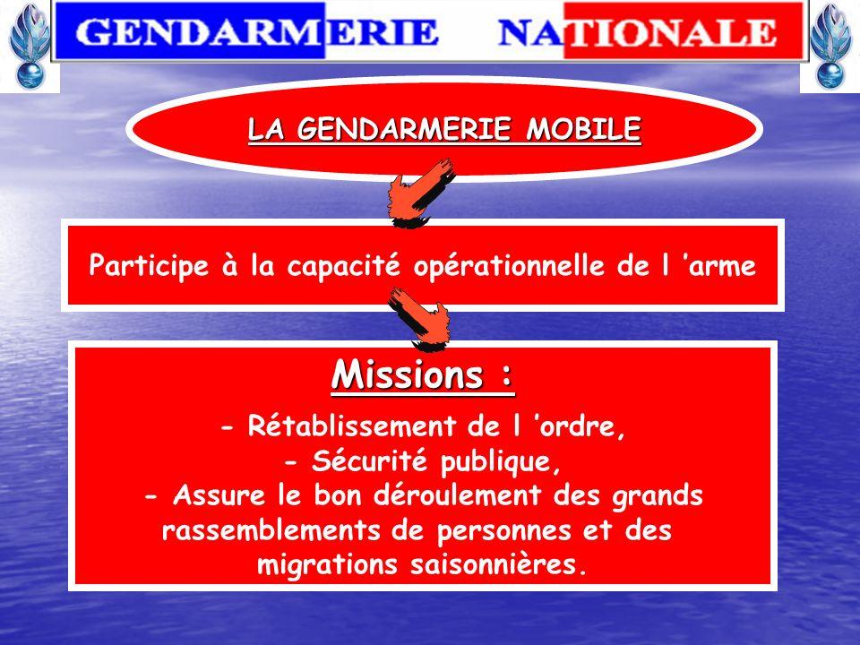 LA GENDARMERIE MOBILE La gendarmerie mobile est avec la gendarmerie départementale l essentiel des forces de l institution Elle est constituée d escad
