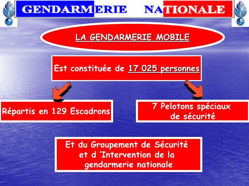 LA GENDARMERIE MOBILE Participe à la capacité opérationnelle de l arme Missions : - Rétablissement de l ordre, - Sécurité publique, - Assure le bon dé