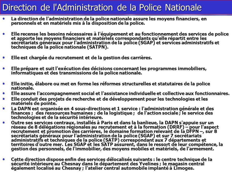 La police nationale est placée sous l'autorité du directeur général de la police nationale nommé en Conseil des Ministres. Elle se compose de : Elle s