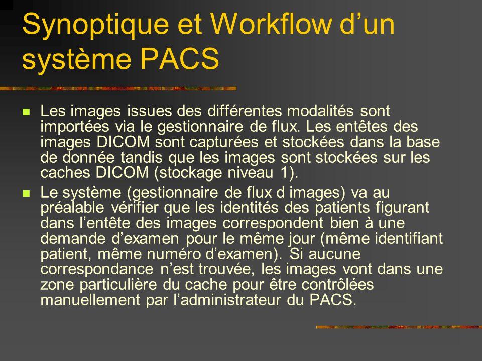 Synoptique et Workflow dun système PACS Les images issues des différentes modalités sont importées via le gestionnaire de flux. Les entêtes des images