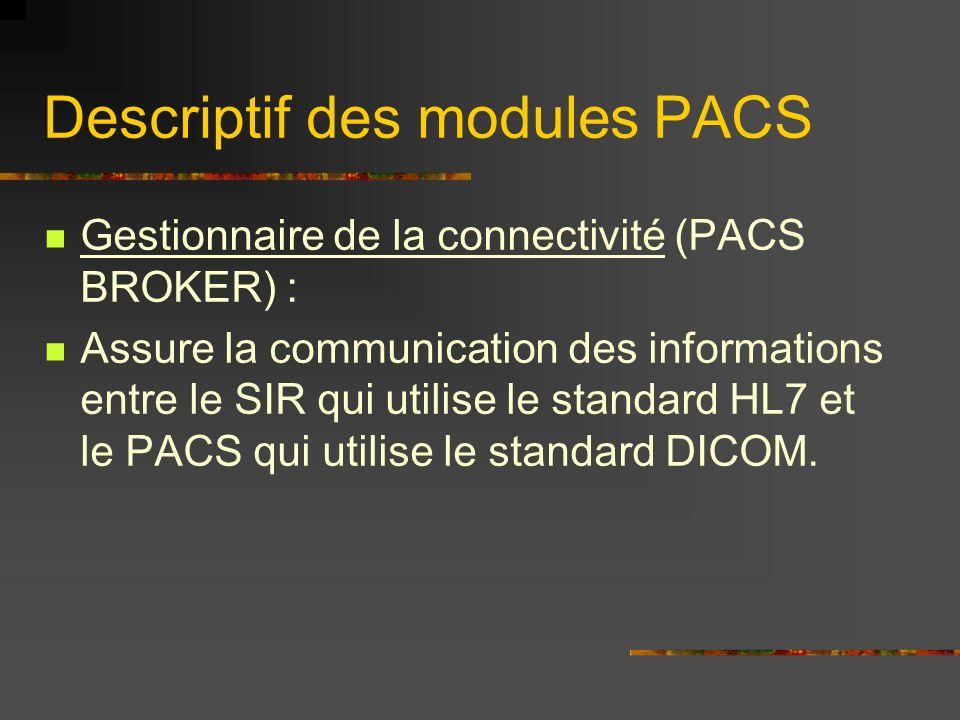 Descriptif des modules PACS Gestionnaire de la connectivité (PACS BROKER) : Assure la communication des informations entre le SIR qui utilise le stand