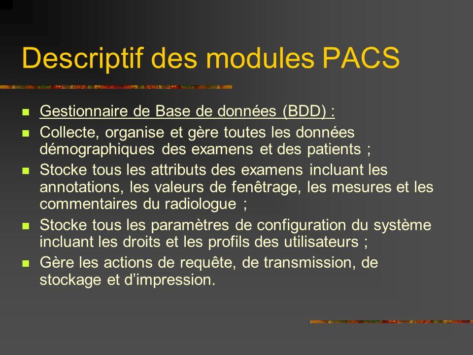 Descriptif des modules PACS Gestionnaire de Base de données (BDD) : Collecte, organise et gère toutes les données démographiques des examens et des pa