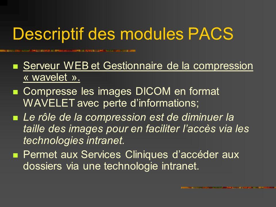 Descriptif des modules PACS Serveur WEB et Gestionnaire de la compression « wavelet ». Compresse les images DICOM en format WAVELET avec perte dinform