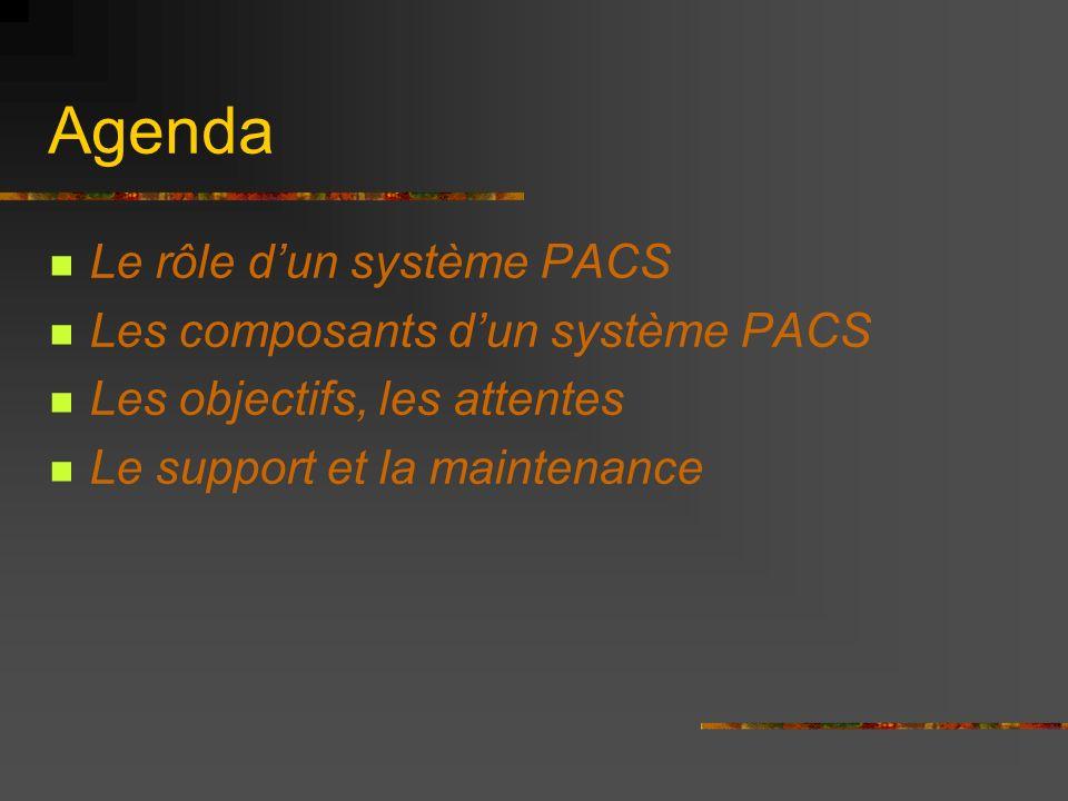Agenda Le rôle dun système PACS Les composants dun système PACS Les objectifs, les attentes Le support et la maintenance