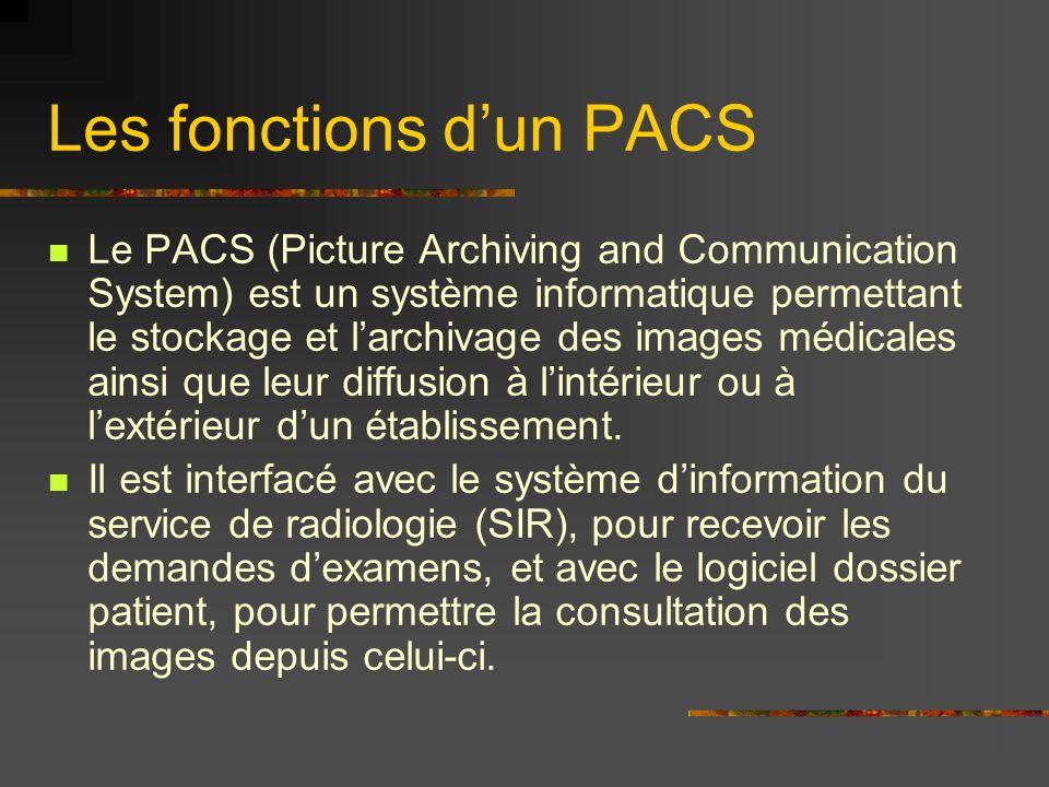 Les fonctions dun PACS Le PACS (Picture Archiving and Communication System) est un système informatique permettant le stockage et larchivage des image