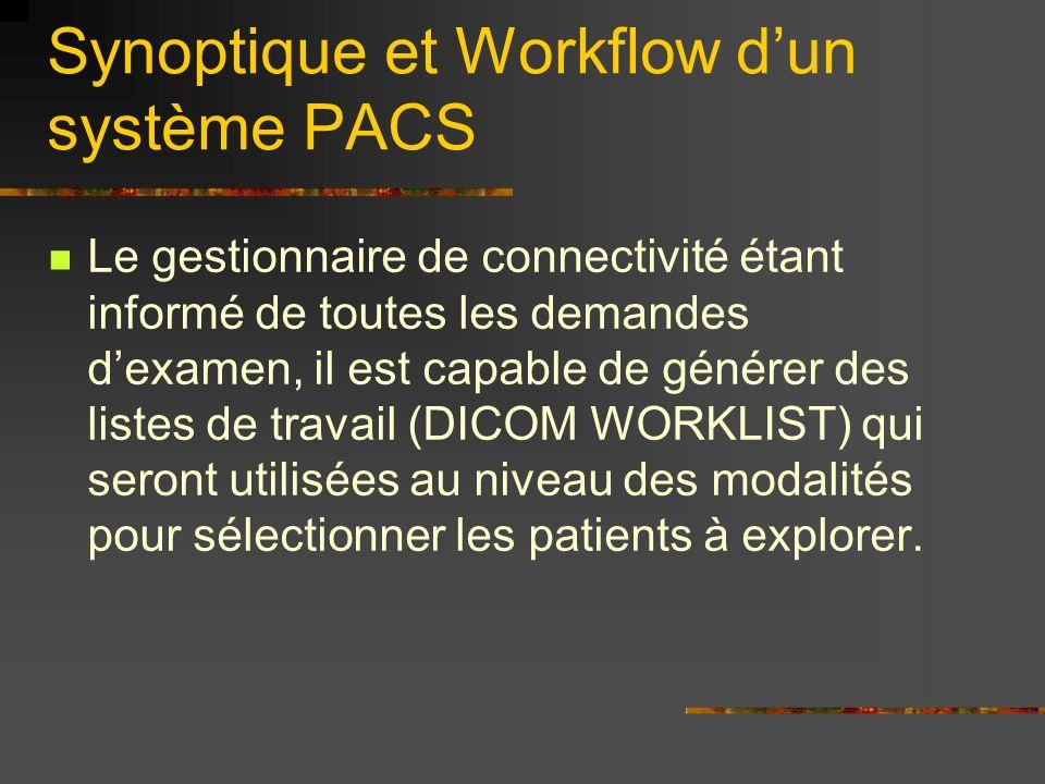 Synoptique et Workflow dun système PACS Le gestionnaire de connectivité étant informé de toutes les demandes dexamen, il est capable de générer des li