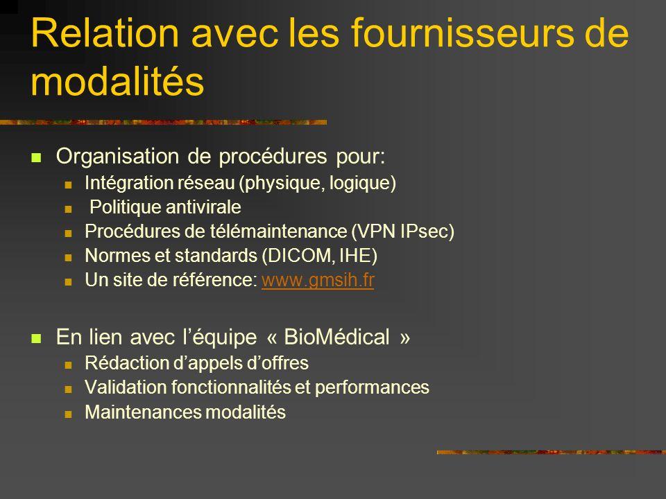 Relation avec les fournisseurs de modalités Organisation de procédures pour: Intégration réseau (physique, logique) Politique antivirale Procédures de