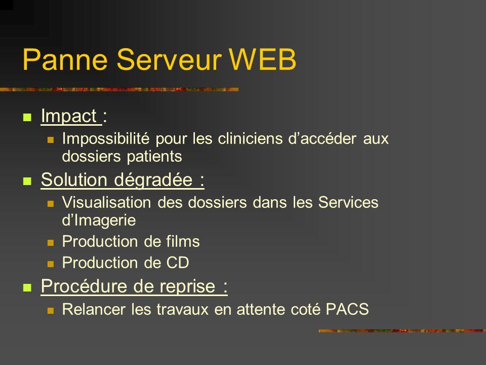 Panne Serveur WEB Impact : Impossibilité pour les cliniciens daccéder aux dossiers patients Solution dégradée : Visualisation des dossiers dans les Se