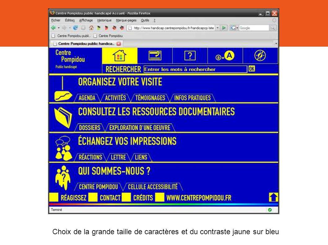 Choix de la grande taille de caractères et du contraste jaune sur bleu