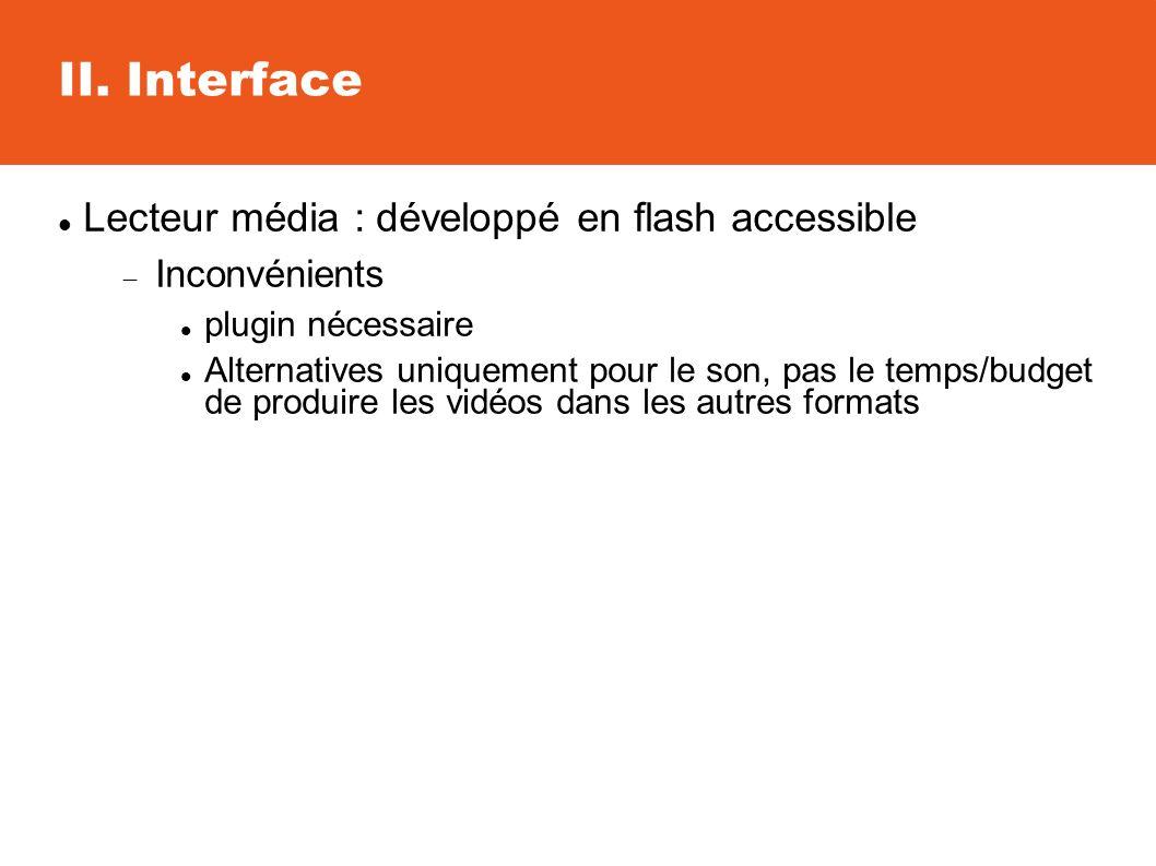 II. Interface Lecteur média : développé en flash accessible Inconvénients plugin nécessaire Alternatives uniquement pour le son, pas le temps/budget d