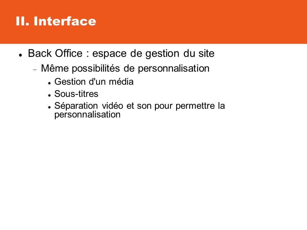 II. Interface Back Office : espace de gestion du site Même possibilités de personnalisation Gestion d'un média Sous-titres Séparation vidéo et son pou