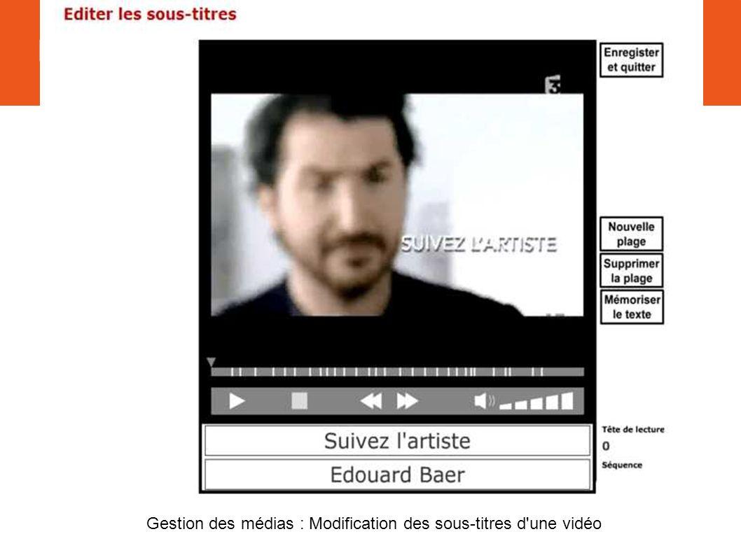 II. Interface Gestion des médias : Modification des sous-titres d une vidéo