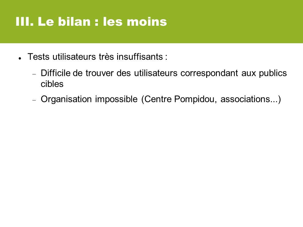 III. Le bilan : les moins Tests utilisateurs très insuffisants : Difficile de trouver des utilisateurs correspondant aux publics cibles Organisation i