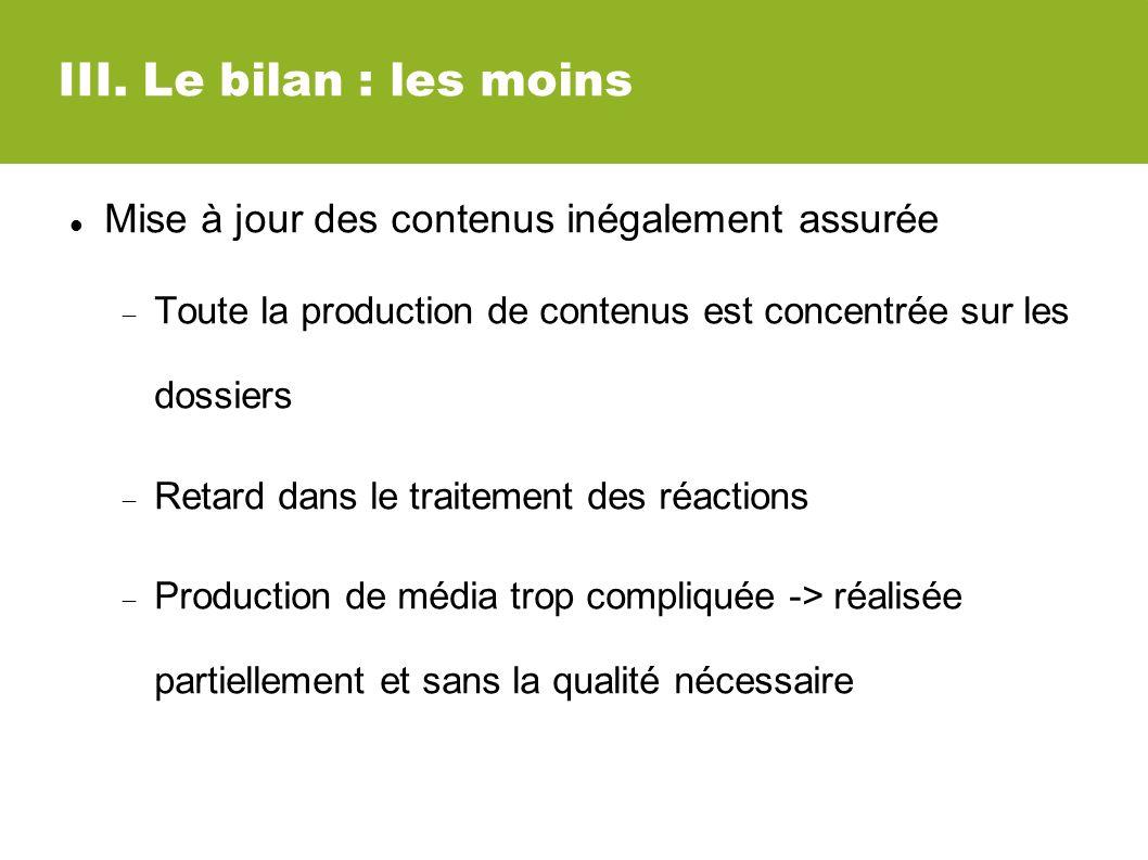 III. Le bilan : les moins Mise à jour des contenus inégalement assurée Toute la production de contenus est concentrée sur les dossiers Retard dans le
