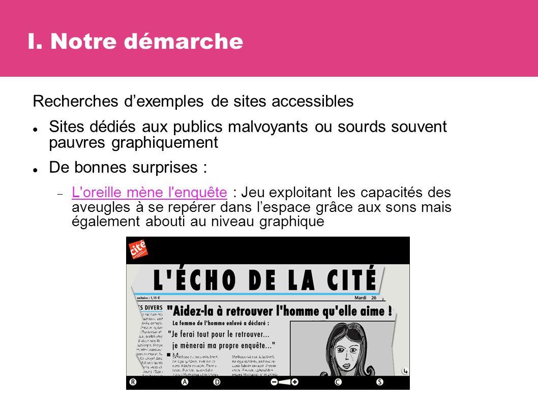 I. Notre démarche Recherches dexemples de sites accessibles Sites dédiés aux publics malvoyants ou sourds souvent pauvres graphiquement De bonnes surp