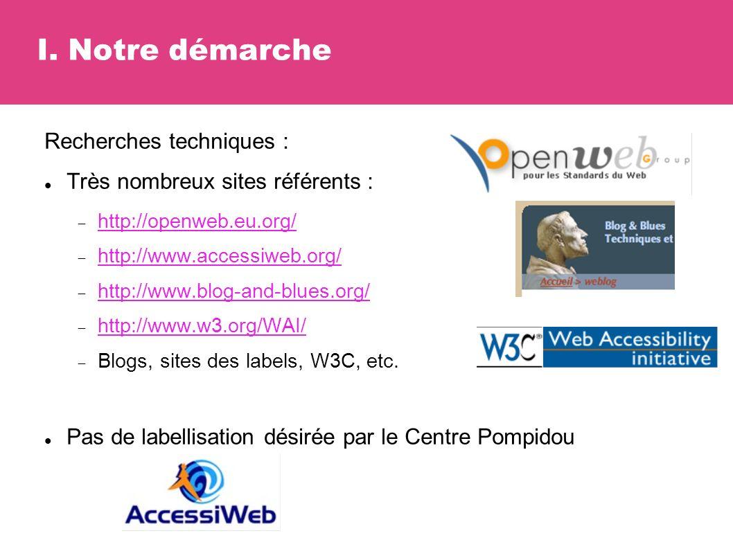 I. Notre démarche Recherches techniques : Très nombreux sites référents : http://openweb.eu.org/ http://www.accessiweb.org/ http://www.blog-and-blues.