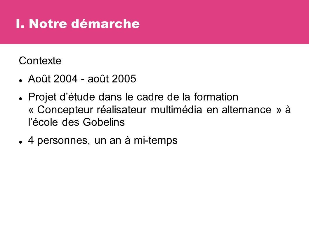 Contexte Août 2004 - août 2005 Projet détude dans le cadre de la formation « Concepteur réalisateur multimédia en alternance » à lécole des Gobelins 4 personnes, un an à mi-temps