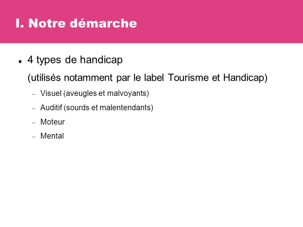 I. Notre démarche 4 types de handicap (utilisés notamment par le label Tourisme et Handicap) Visuel (aveugles et malvoyants) Auditif (sourds et malent