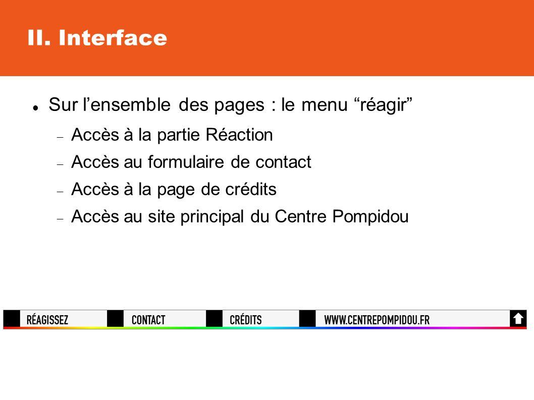 II. Interface Sur lensemble des pages : le menu réagir Accès à la partie Réaction Accès au formulaire de contact Accès à la page de crédits Accès au s
