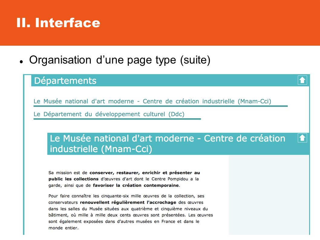 II. Interface Organisation dune page type (suite)