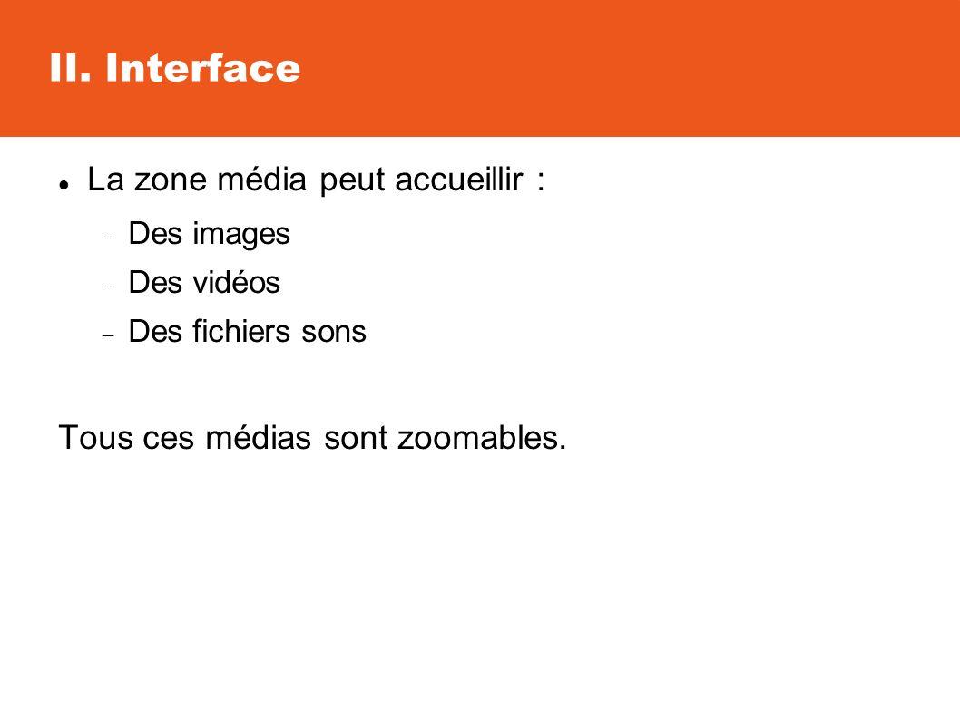 II. Interface La zone média peut accueillir : Des images Des vidéos Des fichiers sons Tous ces médias sont zoomables.