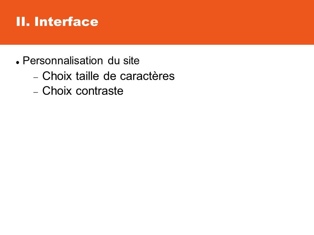 Personnalisation du site Choix taille de caractères Choix contraste