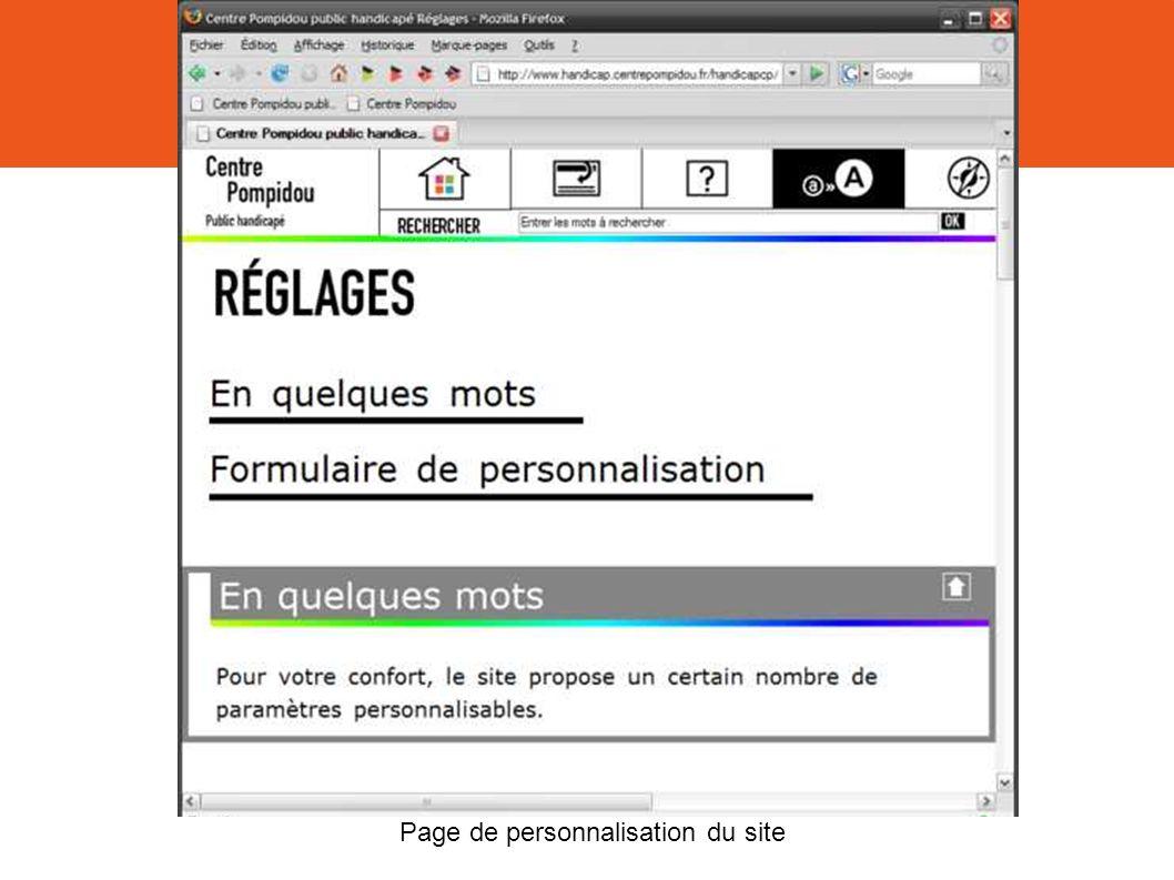 Page de personnalisation du site