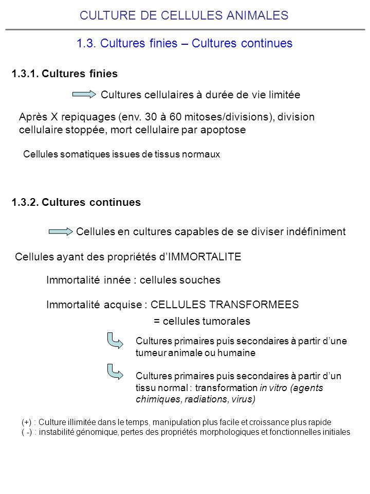 CULTURE DE CELLULES ANIMALES 1.3. Cultures finies – Cultures continues 1.3.1. Cultures finies 1.3.2. Cultures continues Après X repiquages (env. 30 à