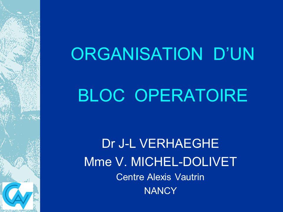 ORGANISATION DUN BLOC OPERATOIRE Dr J-L VERHAEGHE Mme V. MICHEL-DOLIVET Centre Alexis Vautrin NANCY