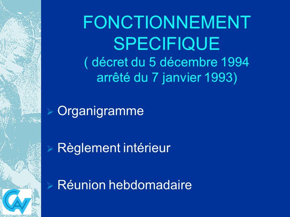 FONCTIONNEMENT SPECIFIQUE ( décret du 5 décembre 1994 arrêté du 7 janvier 1993) Organigramme Règlement intérieur Réunion hebdomadaire