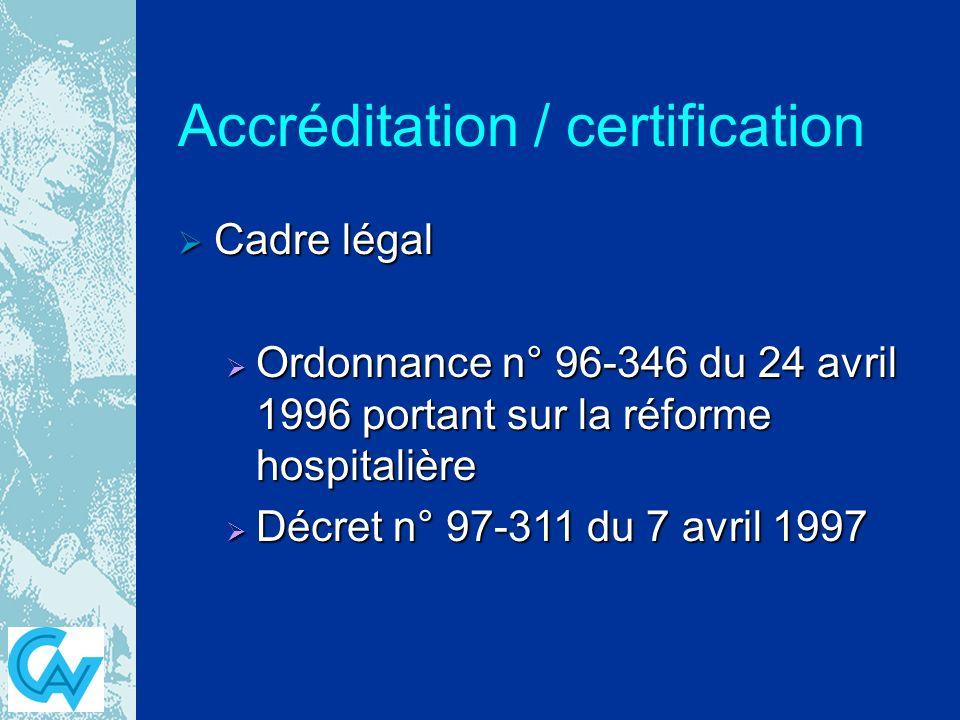 Accréditation / certification Cadre légal Cadre légal Ordonnance n° 96-346 du 24 avril 1996 portant sur la réforme hospitalière Ordonnance n° 96-346 du 24 avril 1996 portant sur la réforme hospitalière Décret n° 97-311 du 7 avril 1997 Décret n° 97-311 du 7 avril 1997