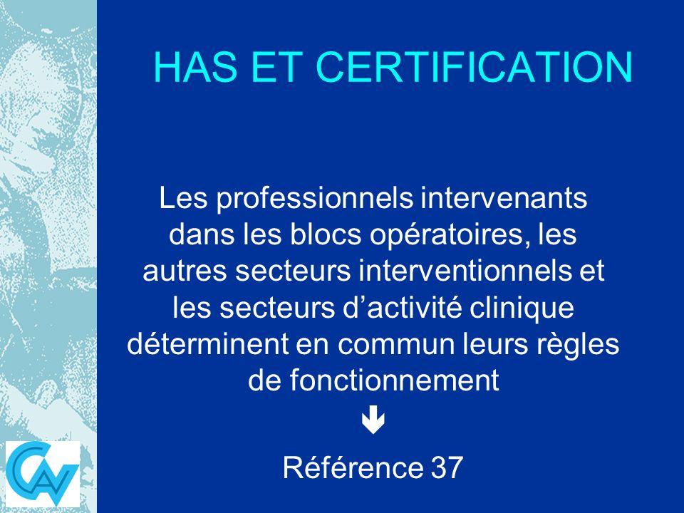 HAS ET CERTIFICATION Les professionnels intervenants dans les blocs opératoires, les autres secteurs interventionnels et les secteurs dactivité clinique déterminent en commun leurs règles de fonctionnement Référence 37