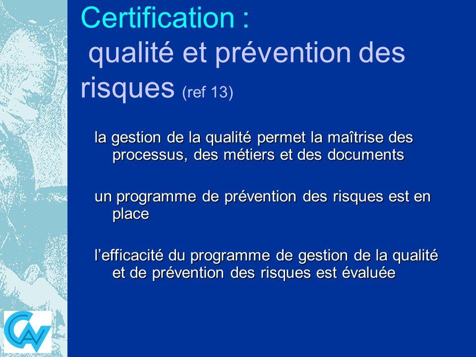Certification : qualité et prévention des risques (ref 13) la gestion de la qualité permet la maîtrise des processus, des métiers et des documents un programme de prévention des risques est en place lefficacité du programme de gestion de la qualité et de prévention des risques est évaluée