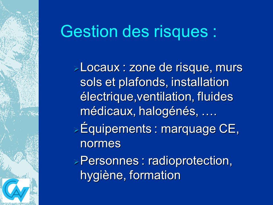 Gestion des risques : Locaux : zone de risque, murs sols et plafonds, installation électrique,ventilation, fluides médicaux, halogénés, ….