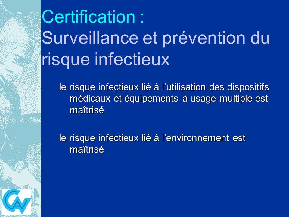 Certification : Surveillance et prévention du risque infectieux le risque infectieux lié à lutilisation des dispositifs médicaux et équipements à usage multiple est maîtrisé le risque infectieux lié à lenvironnement est maîtrisé