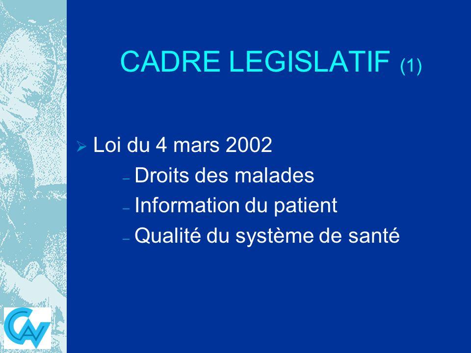 CADRE LEGISLATIF (1) Loi du 4 mars 2002 – – Droits des malades – – Information du patient – – Qualité du système de santé
